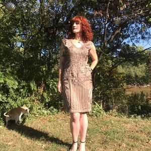 Sue Wong Champagne Beaded Cocktail Dress
